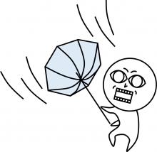 風でひっくり返る傘